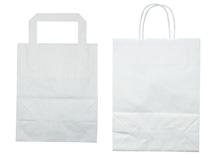 Tragetaschen aus weißem Kraftpapier