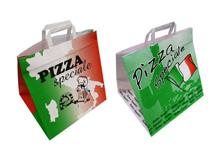 Tragetaschen aus Kraftpapier mit Pizzamotiv bedruckt