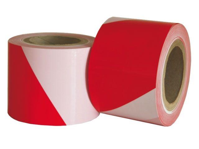 HDPE-Flatterband, rot-weiß gestreift - 100mmx100m - 50µ