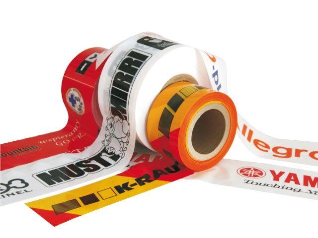 LDPE-Flatterband 3-farbig bedruckt - 50 my - 75mmx500m