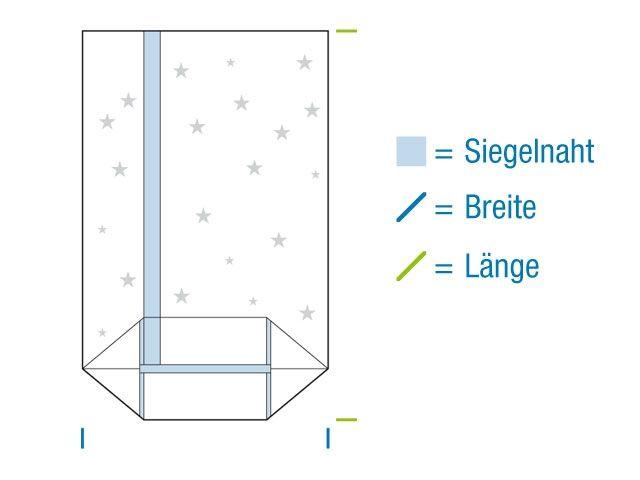 Kreuzbodenbeutel aus OPP Material, hochtransparent 145x235 mm - 30my - Motiv: Weihnachtsstern