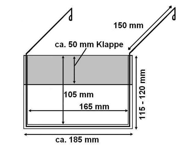 Drahtbügeltasche A6 mit Federstahlbügel mit Klappe - für Europaletten