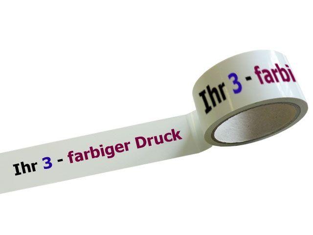 PVC-Packband 3-farbig bedruckt Positivdruck - 51my - 50mmx66m mit Naturkautschukklebstoff
