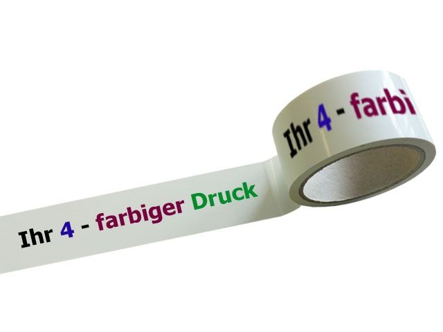PVC-Packband 4-farbig bedruckt Positivdruck - 65my - 50mmx66m - MONTA 124