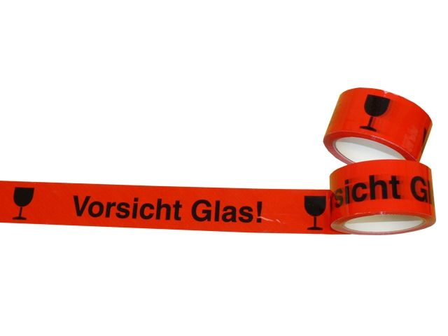 PP-Packband, rot - mit Druck Vorsicht Glas - 50mmx66m
