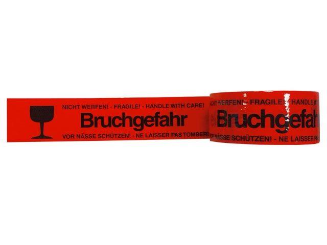 PP-Packband, rot - mit Druck Bruchgefahr - 50mmx66m