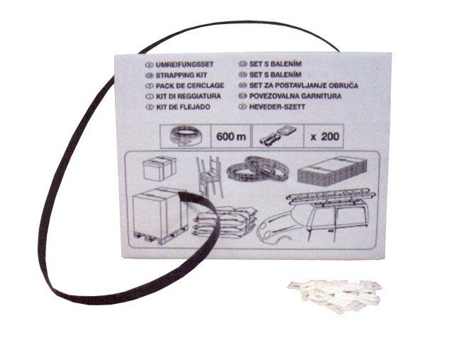Umreifungsbänder-Set, schwarz aus PP - 12x0,55mmx600m + 200 Kunststoffschnallen