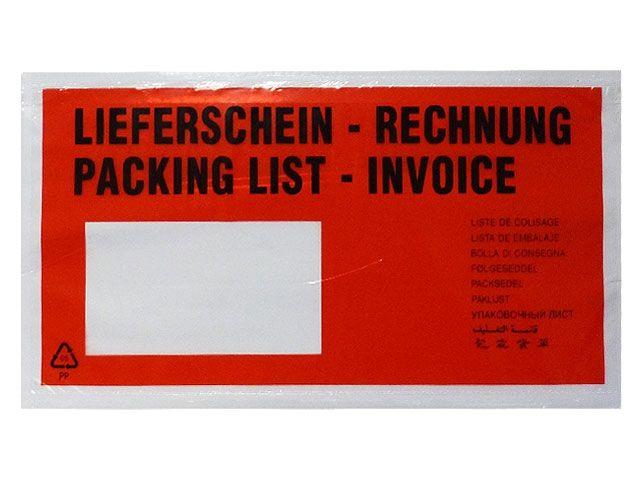 Dokumententaschen, rot - DIN Lang - 235x130 mm - Lieferschein / Rechnung