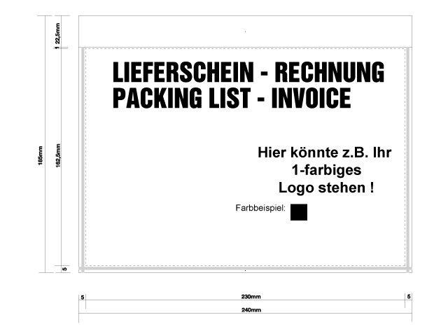 20000 Lieferscheintaschen DIN C5 Druck Rechnung Dokumententaschen