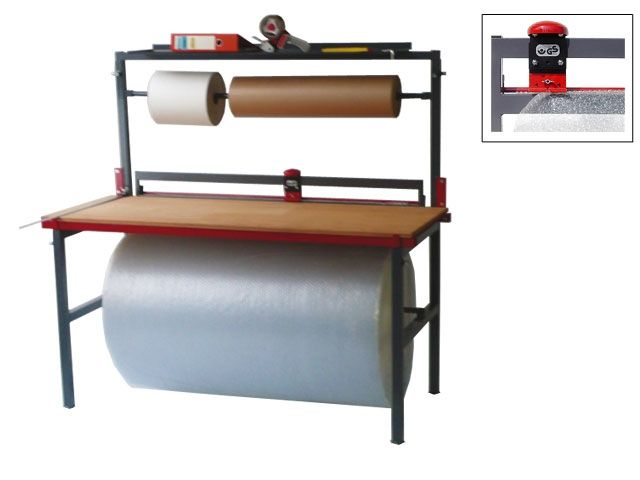 Packtisch -feststehend-, mit Arbeitsplatte bis Rollenbreite 125 cm