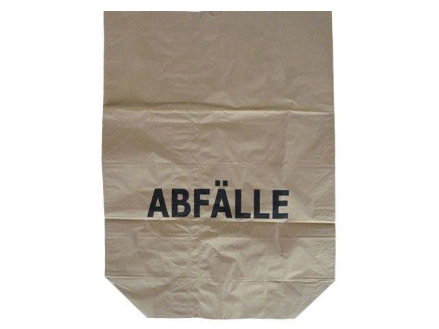 Abfallbeutel aus Papier, braun - Aufdruck Abfälle - 120 Liter - 700x950+220 mm