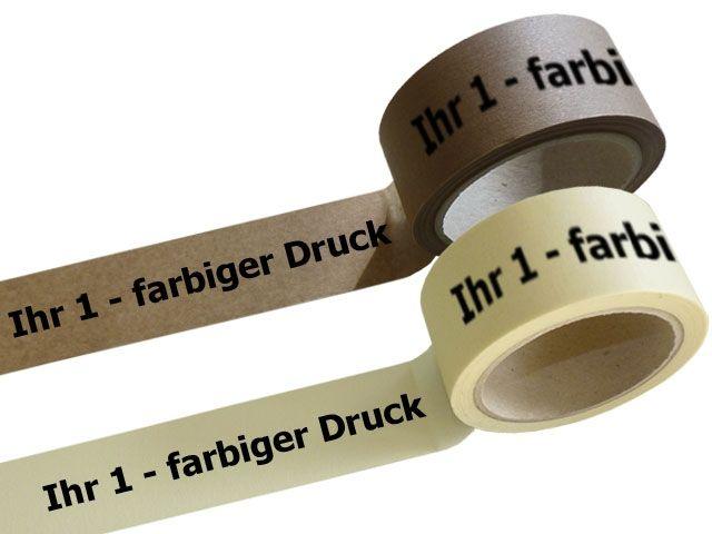 Papier Packband 1-farbig bedruckt - 50mmx50m mit Naturkautschukklebstoff