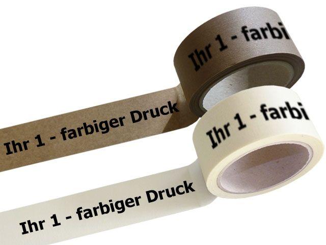 Papier Packband 1-farbig bedruckt - 50mmx50m mit Hotmeltklebstoff