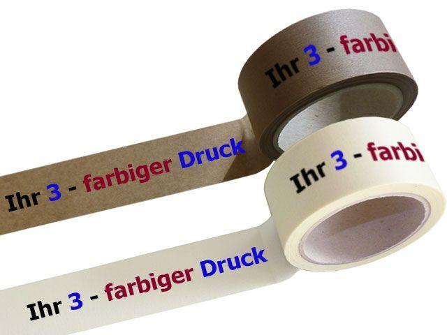 Papier Packband 3-farbig bedruckt - 50mmx50m mit Hotmeltklebstoff