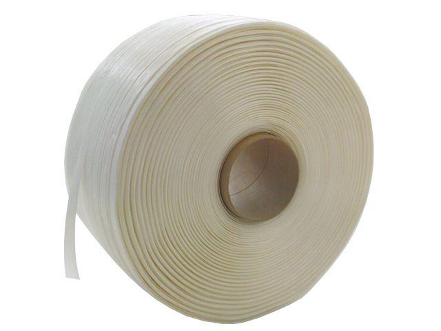 Textilumreifungsband, weiß aus Polyesterfäden - Reißkraft 450 Kg - 16mmx850m