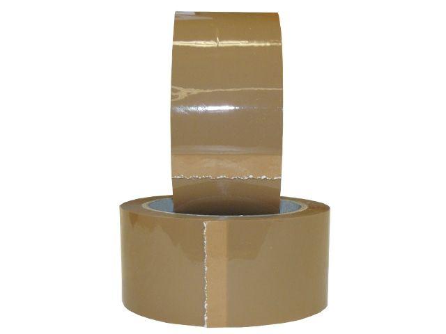 PVC-Packband, braun - 50mmx66m - 33 my Folienstärke + Naturkautschukklebstoff - Pack-Film 866