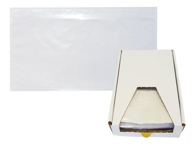 Dokumententaschen, transparent - DIN Lang - 235x130 mm - Spendekarton 250 Stück