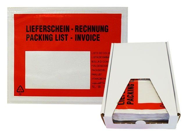 Dokumententaschen, rot - DIN C6 - Lieferschein / Rechnung - 175x130 mm - Spendekarton 250 Stück