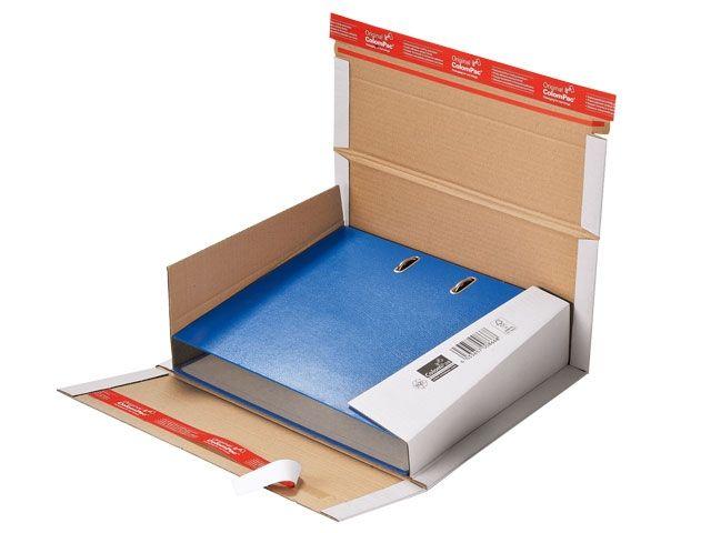 Ordner-Versandverpackungen aus Wellpappe, weiß - 320x290x35-80mm - mit doppeltem Klebeverschluss - TYP ColomPac CP 055.51W