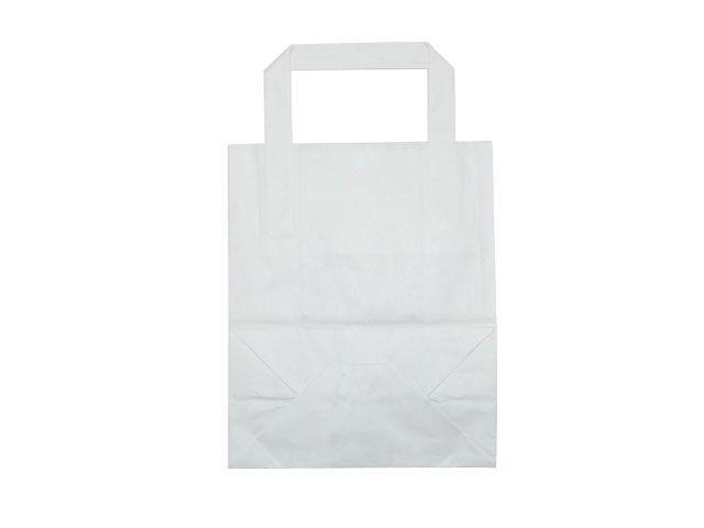 Tragetaschen aus Kraftpapier, weiß - 180+80x220 mm - 70 g/m²