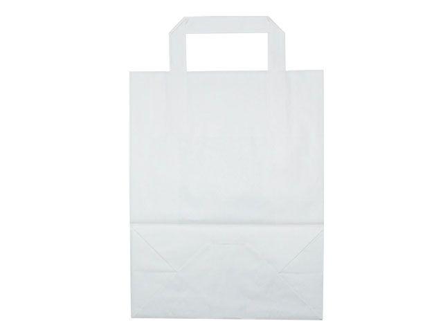 Tragetaschen aus Kraftpapier, weiß - 220+100x280 mm - 70 g/m²