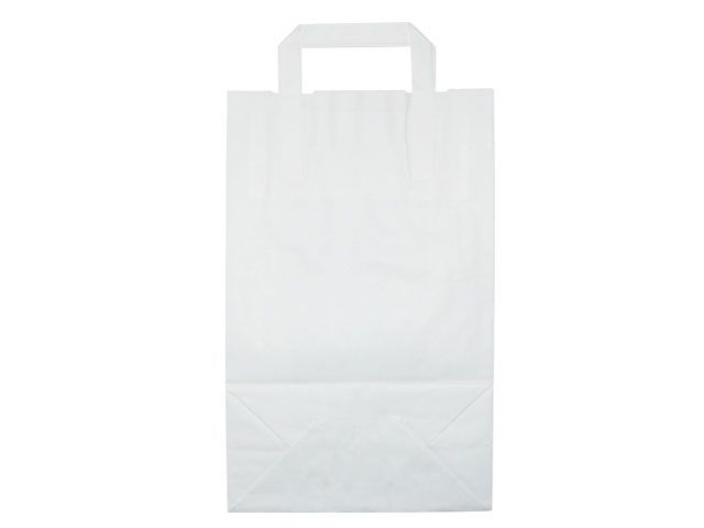 Tragetaschen aus Kraftpapier, weiß - 220+100x360 mm - 70 g/m²