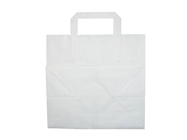 Tragetaschen aus Kraftpapier, weiß - 260+170x250 mm - 80 g/m²